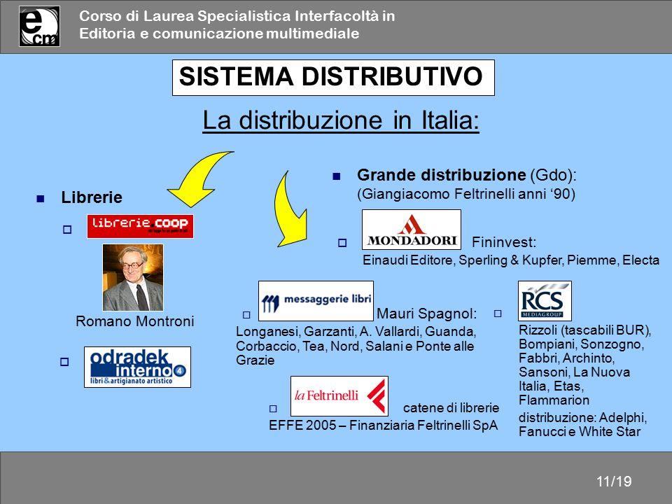 Corso di Laurea Specialistica Interfacoltà in Editoria e comunicazione multimediale 11/19  Feltrinelli catene di librerie EFFE 2005 – Finanziaria Fel