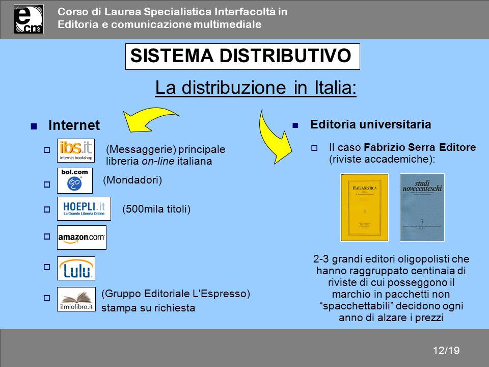 Corso di Laurea Specialistica Interfacoltà in Editoria e comunicazione multimediale 12/19  libro  Bol.  Ibs.it  Hoepli.it  Amazon  Lulu SISTEMA