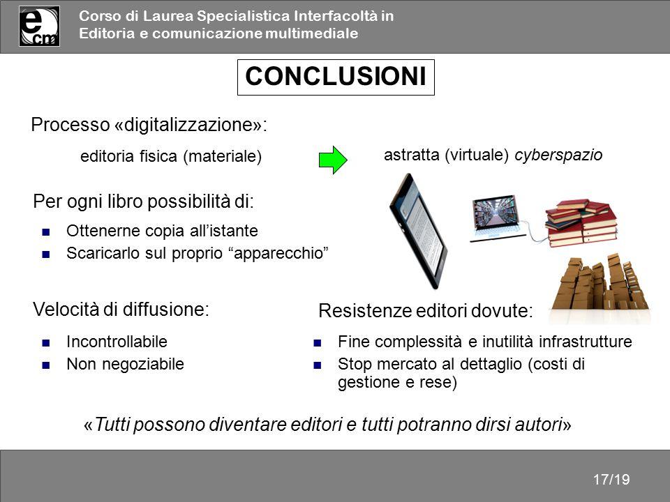Corso di Laurea Specialistica Interfacoltà in Editoria e comunicazione multimediale 17/19 CONCLUSIONI astratta (virtuale) cyberspazio Processo «digita