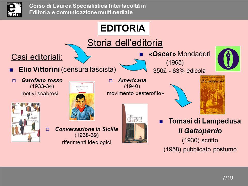 Corso di Laurea Specialistica Interfacoltà in Editoria e comunicazione multimediale 7/19 Casi editoriali: Tomasi di Lampedusa Il Gattopardo (1930) scr