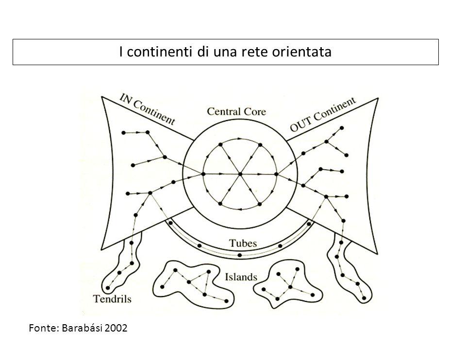 I continenti di una rete orientata Fonte: Barabási 2002