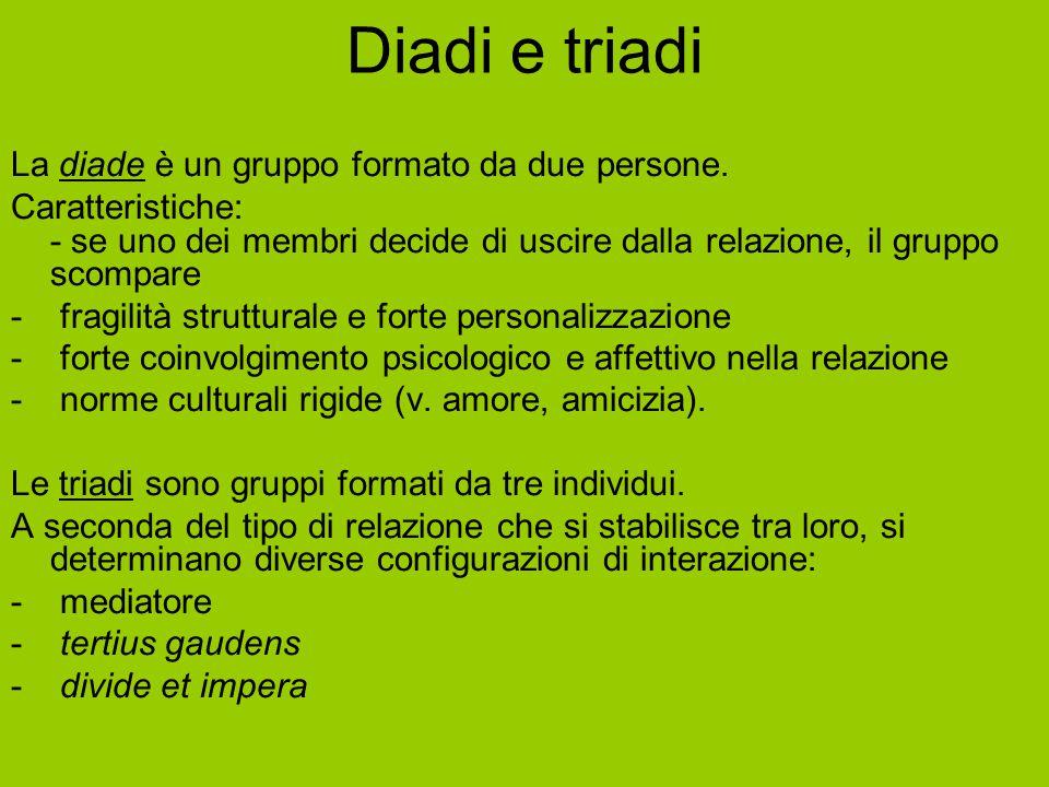 Diadi e triadi La diade è un gruppo formato da due persone. Caratteristiche: - se uno dei membri decide di uscire dalla relazione, il gruppo scompare