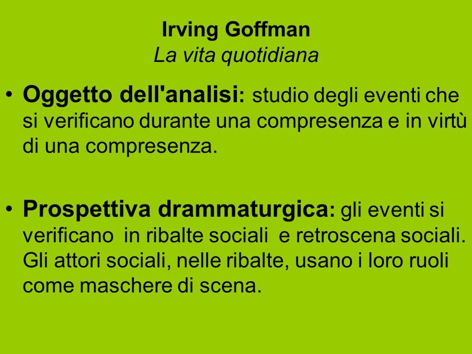 Irving Goffman La vita quotidiana Oggetto dell'analisi : studio degli eventi che si verificano durante una compresenza e in virtù di una compresenza.