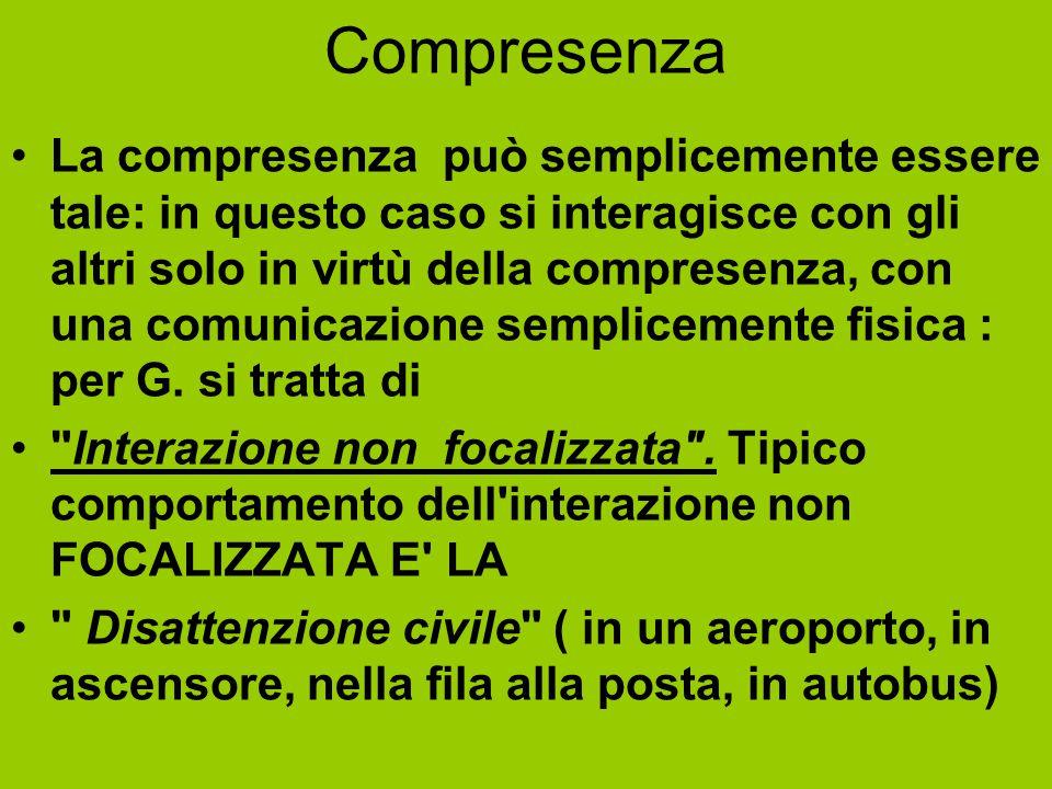 Compresenza La compresenza può semplicemente essere tale: in questo caso si interagisce con gli altri solo in virtù della compresenza, con una comunic
