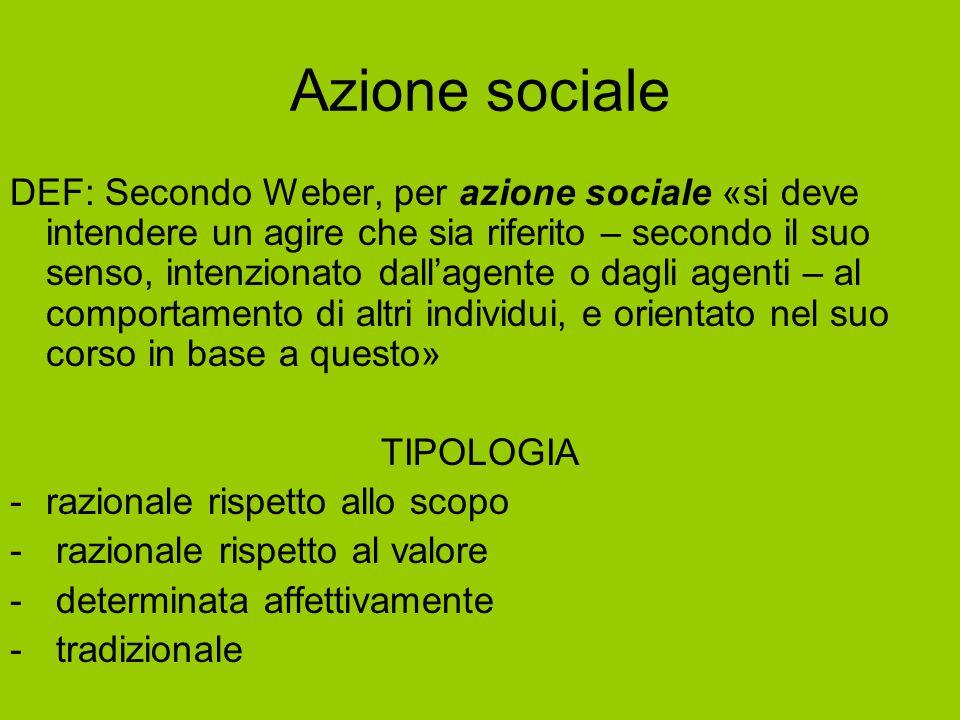 Azione sociale DEF: Secondo Weber, per azione sociale «si deve intendere un agire che sia riferito – secondo il suo senso, intenzionato dall'agente o