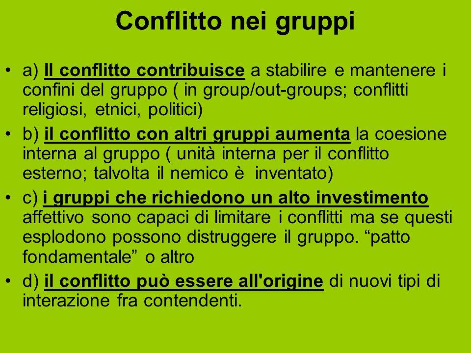 Conflitto nei gruppi a) Il conflitto contribuisce a stabilire e mantenere i confini del gruppo ( in group/out-groups; conflitti religiosi, etnici, pol