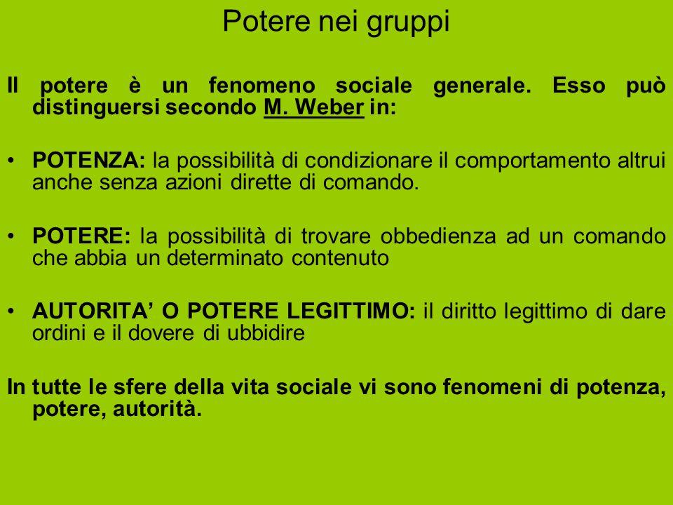 Potere nei gruppi Il potere è un fenomeno sociale generale. Esso può distinguersi secondo M. Weber in: POTENZA: la possibilità di condizionare il comp