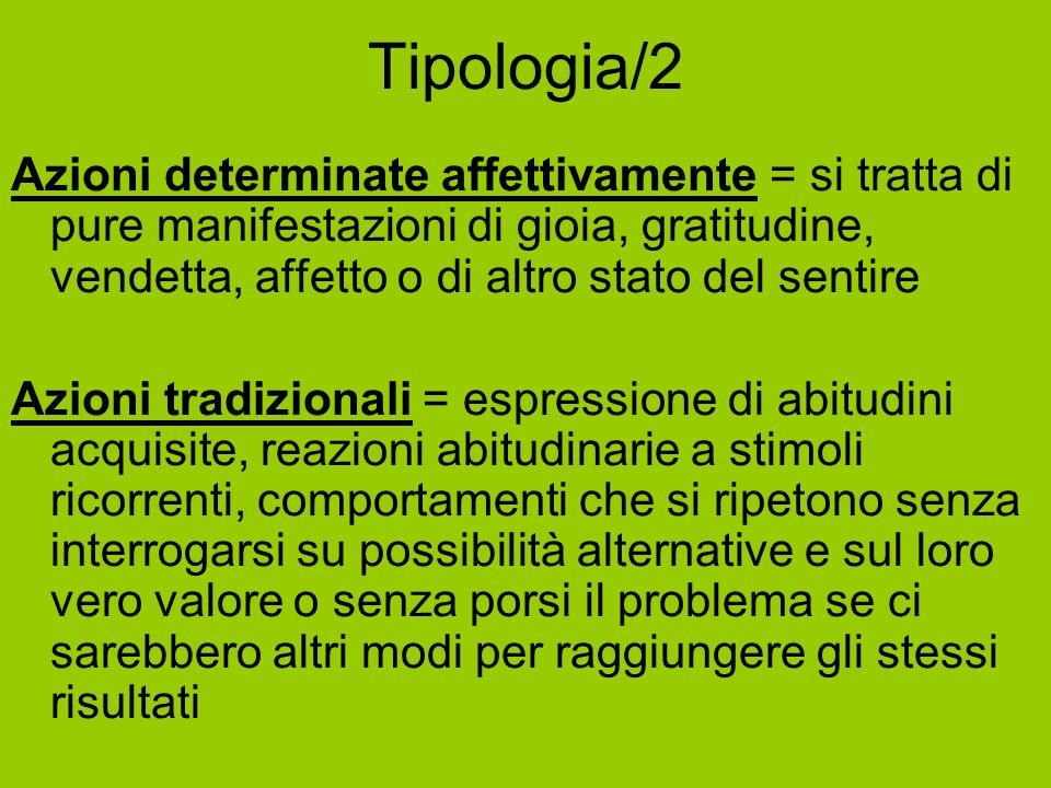 Tipologia/2 Azioni determinate affettivamente = si tratta di pure manifestazioni di gioia, gratitudine, vendetta, affetto o di altro stato del sentire