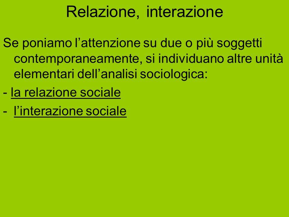 Relazione, interazione Se poniamo l'attenzione su due o più soggetti contemporaneamente, si individuano altre unità elementari dell'analisi sociologic
