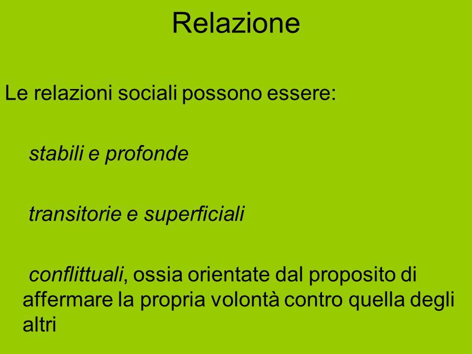 Relazione Le relazioni sociali possono essere: - stabili e profonde - transitorie e superficiali - conflittuali, ossia orientate dal proposito di affe
