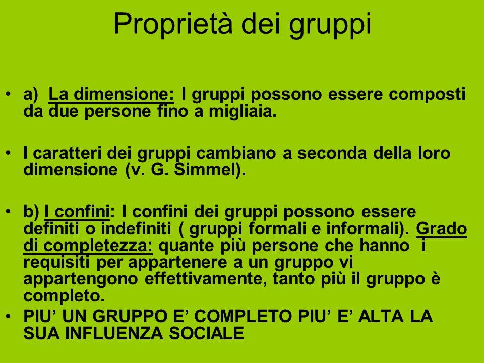 Proprietà dei gruppi a) La dimensione: I gruppi possono essere composti da due persone fino a migliaia. I caratteri dei gruppi cambiano a seconda dell