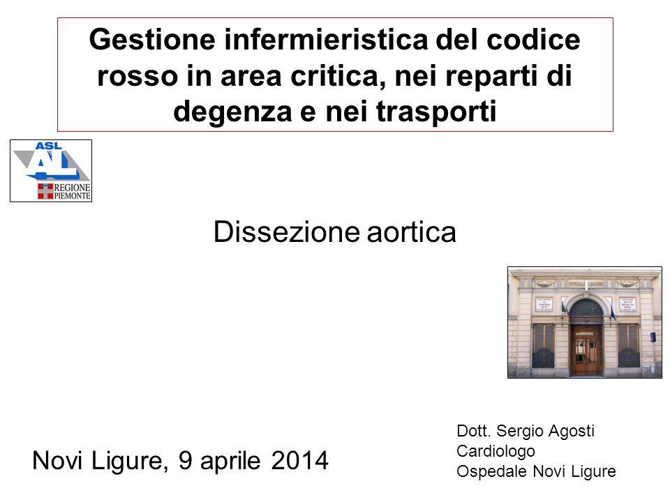 Gestione infermieristica del codice rosso in area critica, nei reparti di degenza e nei trasporti Novi Ligure, 9 aprile 2014 Dissezione aortica Dott.