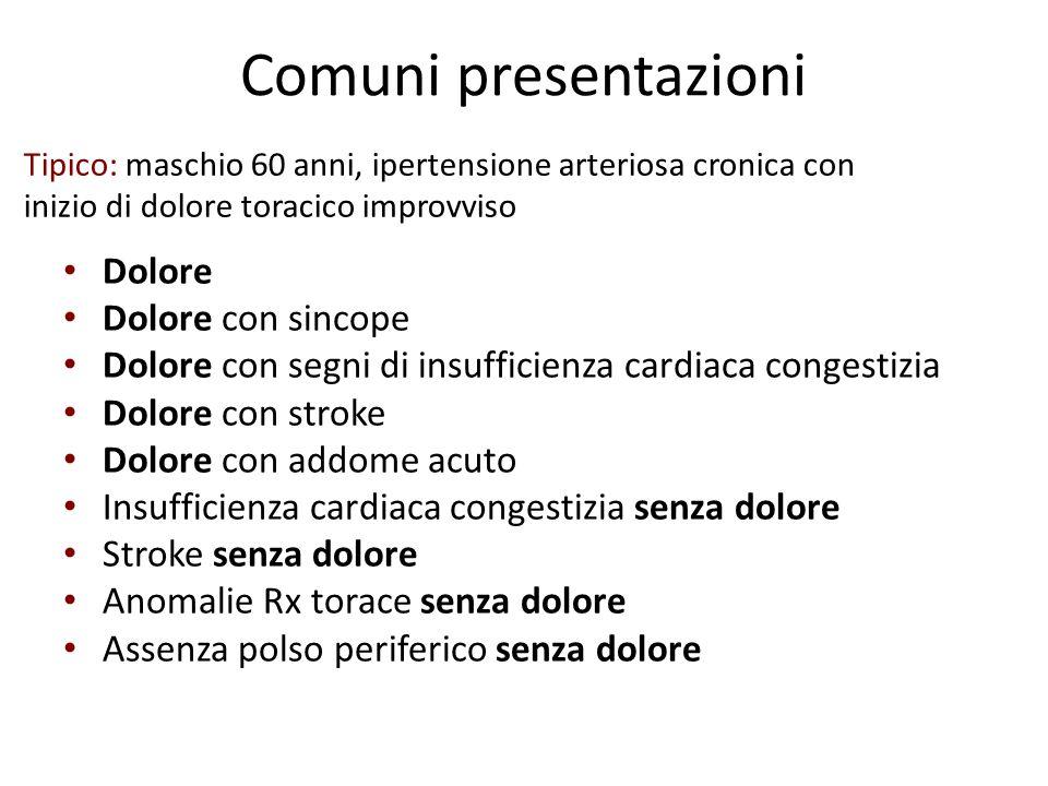 Comuni presentazioni Dolore Dolore con sincope Dolore con segni di insufficienza cardiaca congestizia Dolore con stroke Dolore con addome acuto Insuff
