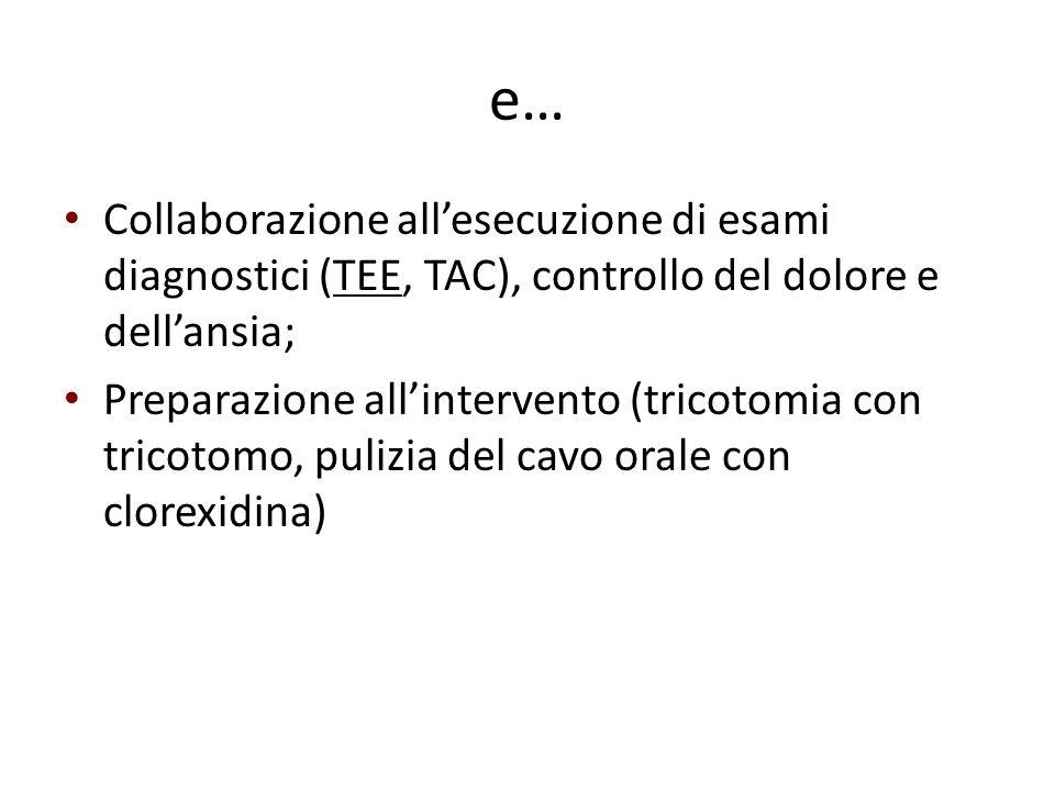 e… Collaborazione all'esecuzione di esami diagnostici (TEE, TAC), controllo del dolore e dell'ansia; Preparazione all'intervento (tricotomia con trico
