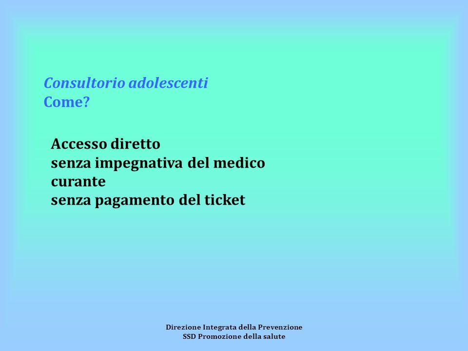Direzione Integrata della Prevenzione SSD Promozione della salute Consultorio adolescenti Come.