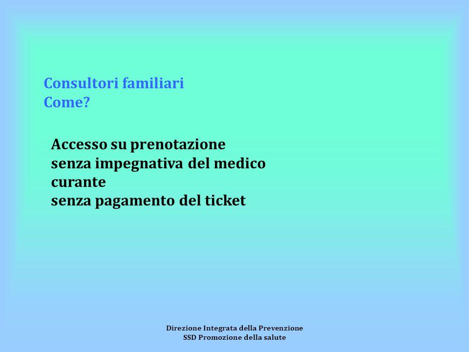 Direzione Integrata della Prevenzione SSD Promozione della salute Consultori familiari Come.