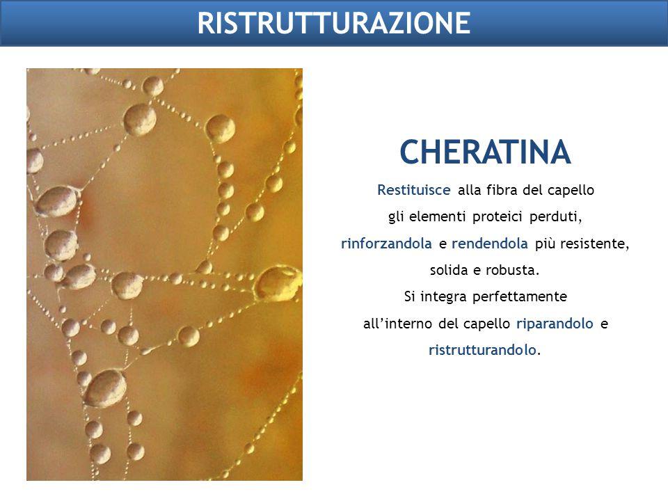 RISTRUTTURAZIONE CHERATINA Restituisce alla fibra del capello gli elementi proteici perduti, rinforzandola e rendendola più resistente, solida e robus