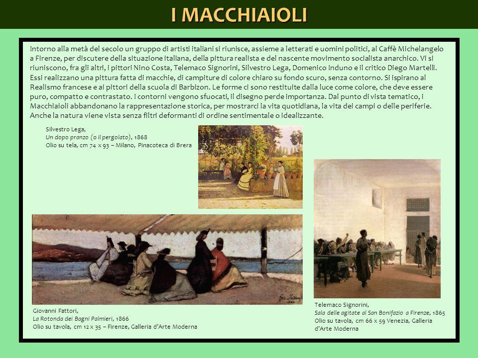 I MACCHIAIOLI Intorno alla metà del secolo un gruppo di artisti italiani si riunisce, assieme a letterati e uomini politici, al Caffè Michelangelo a F