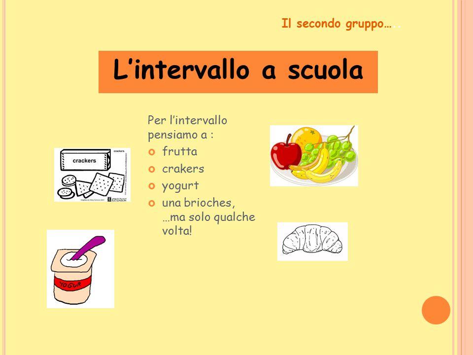 L'intervallo a scuola Per l'intervallo pensiamo a :  frutta  crakers  yogurt  una brioches, …ma solo qualche volta! Il secondo gruppo…..