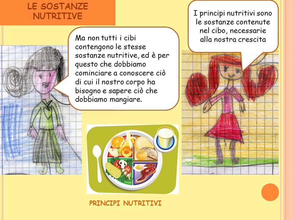 LE SOSTANZE NUTRITIVE Ma non tutti i cibi contengono le stesse sostanze nutritive, ed è per questo che dobbiamo cominciare a conoscere ciò di cui il n