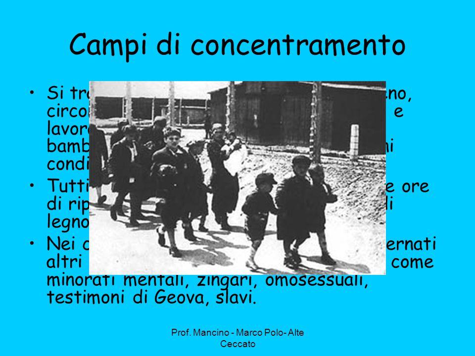 Campi di concentramento Si trattava di grandi estensioni di terreno, circondati da filo spinato, dove vivevano e lavoravano, indifferentemente vecchi, bambini, persone di tutte le età e di ogni condizione sociale.