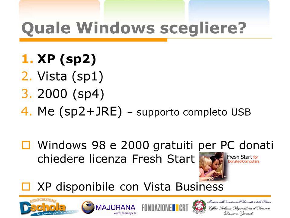 Quale Windows scegliere? 1.XP (sp2) 2.Vista (sp1) 3.2000 (sp4) 4.Me (sp2+JRE) – supporto completo USB  Windows 98 e 2000 gratuiti per PC donati chied