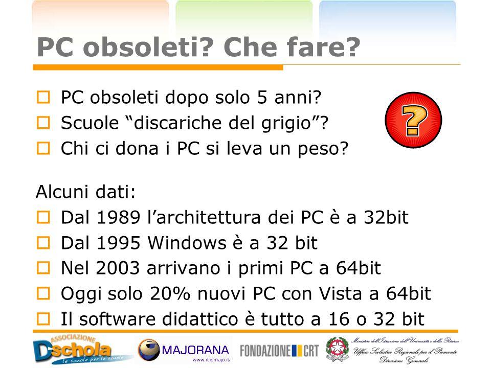 """PC obsoleti? Che fare?  PC obsoleti dopo solo 5 anni?  Scuole """"discariche del grigio""""?  Chi ci dona i PC si leva un peso? Alcuni dati:  Dal 1989 l"""