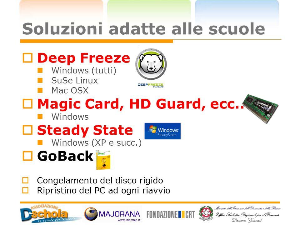 Soluzioni adatte alle scuole  Deep Freeze Windows (tutti) SuSe Linux Mac OSX  Magic Card, HD Guard, ecc.. Windows  Steady State Windows (XP e succ.