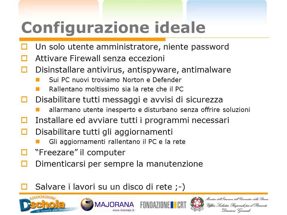 Configurazione ideale  Un solo utente amministratore, niente password  Attivare Firewall senza eccezioni  Disinstallare antivirus, antispyware, ant