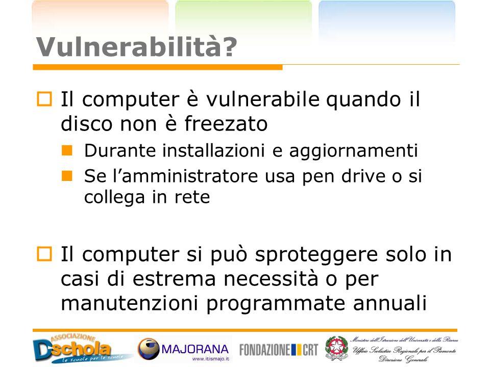 Vulnerabilità?  Il computer è vulnerabile quando il disco non è freezato Durante installazioni e aggiornamenti Se l'amministratore usa pen drive o si