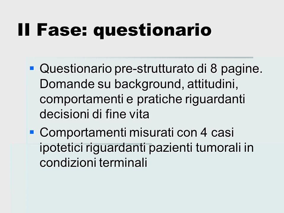 II Fase: questionario  Questionario pre-strutturato di 8 pagine. Domande su background, attitudini, comportamenti e pratiche riguardanti decisioni di