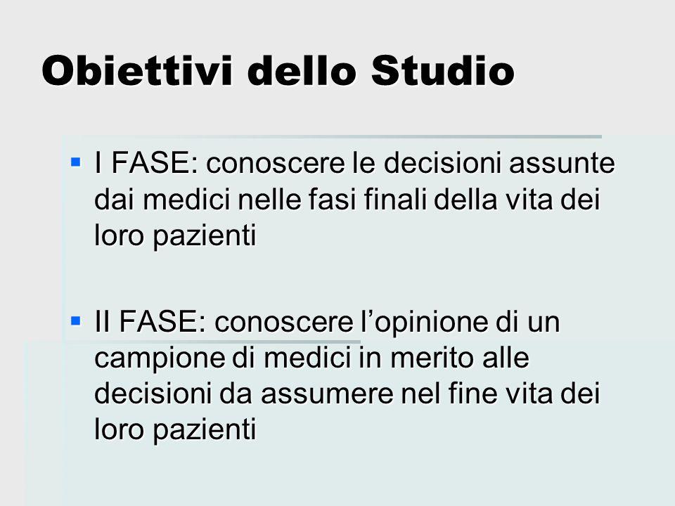 Obiettivi dello Studio  I FASE: conoscere le decisioni assunte dai medici nelle fasi finali della vita dei loro pazienti  II FASE: conoscere l'opini