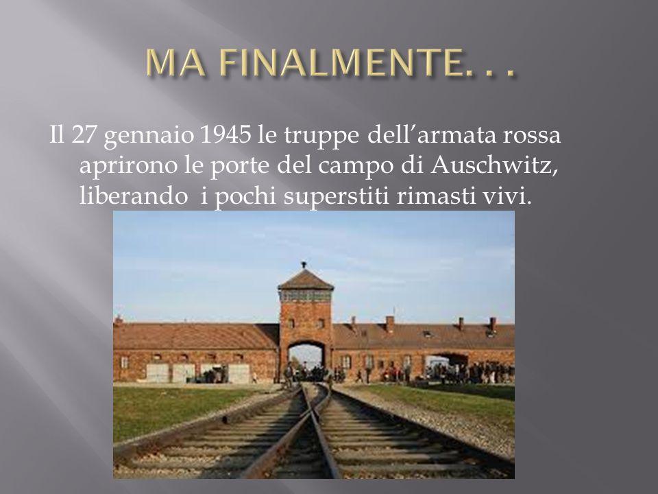 Il 27 gennaio 1945 le truppe dell'armata rossa aprirono le porte del campo di Auschwitz, liberando i pochi superstiti rimasti vivi.