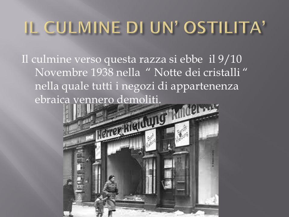 """Il culmine verso questa razza si ebbe il 9/10 Novembre 1938 nella """" Notte dei cristalli """" nella quale tutti i negozi di appartenenza ebraica vennero d"""