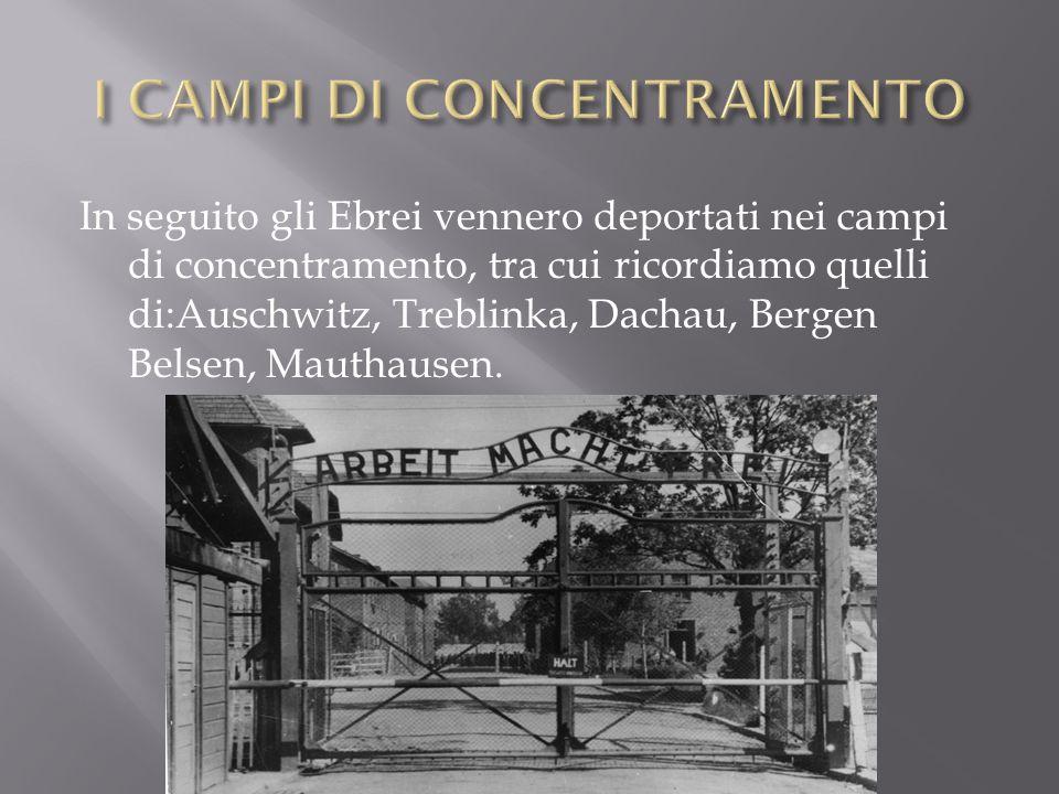 In seguito gli Ebrei vennero deportati nei campi di concentramento, tra cui ricordiamo quelli di:Auschwitz, Treblinka, Dachau, Bergen Belsen, Mauthaus