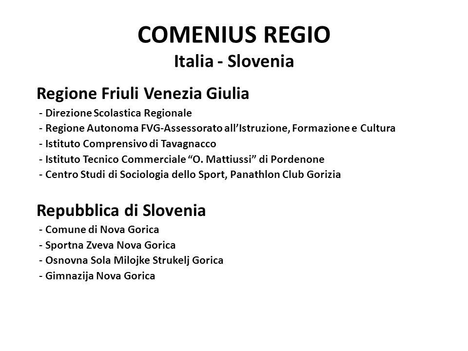 COMENIUS REGIO Italia - Slovenia Regione Friuli Venezia Giulia - Direzione Scolastica Regionale - Regione Autonoma FVG-Assessorato all'Istruzione, For