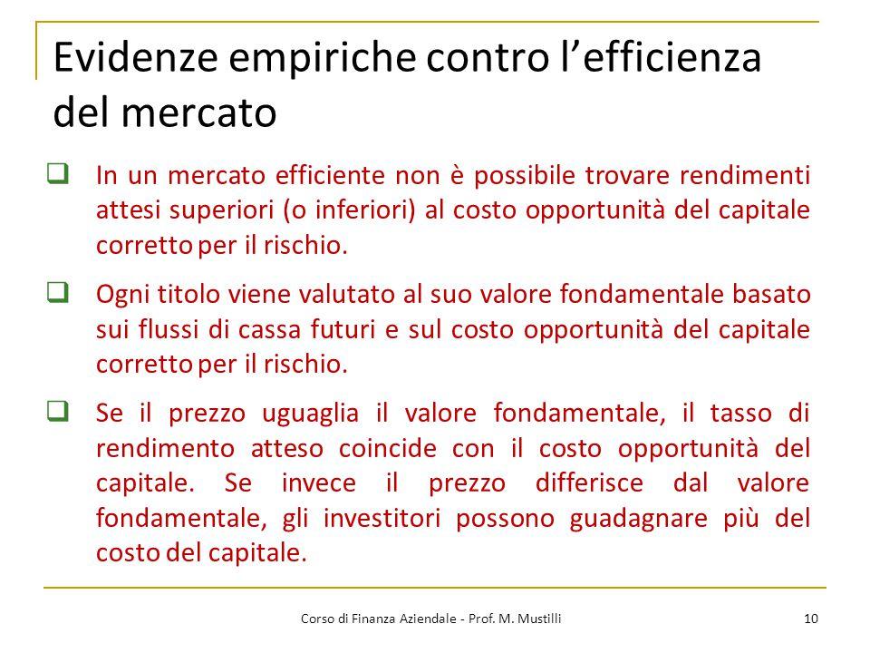 Evidenze empiriche contro l'efficienza del mercato 10  In un mercato efficiente non è possibile trovare rendimenti attesi superiori (o inferiori) al costo opportunità del capitale corretto per il rischio.