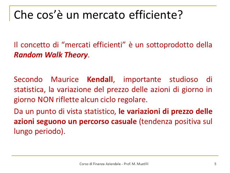 Che cos'è un mercato efficiente? 5 Secondo Maurice Kendall, importante studioso di statistica, la variazione del prezzo delle azioni di giorno in gior