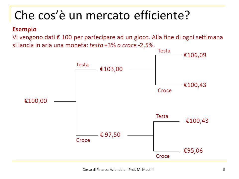 Che cos'è un mercato efficiente? 6 €103,00 €100,00 €106,09 €100,43 € 97,50 €100,43 €95,06 Esempio Vi vengono dati € 100 per partecipare ad un gioco. A