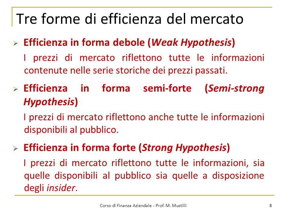 8 Tre forme di efficienza del mercato  Efficienza in forma debole (Weak Hypothesis) I prezzi di mercato riflettono tutte le informazioni contenute nelle serie storiche dei prezzi passati.