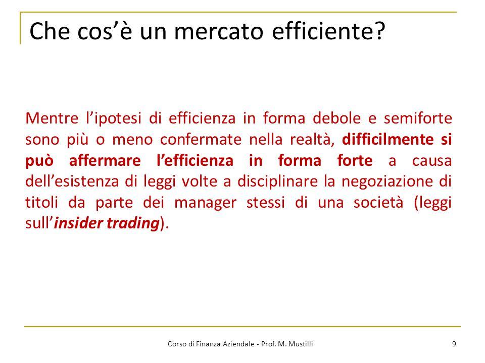 Che cos'è un mercato efficiente? 9 Mentre l'ipotesi di efficienza in forma debole e semiforte sono più o meno confermate nella realtà, difficilmente s
