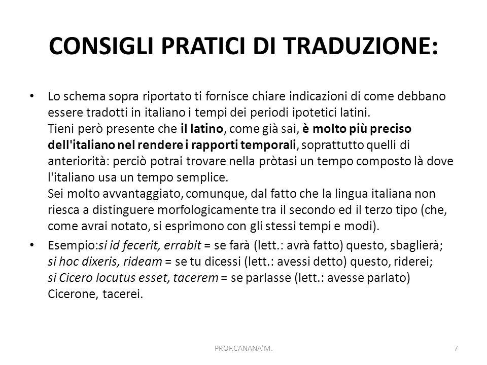 CONSIGLI PRATICI DI TRADUZIONE: Lo schema sopra riportato ti fornisce chiare indicazioni di come debbano essere tradotti in italiano i tempi dei periodi ipotetici latini.