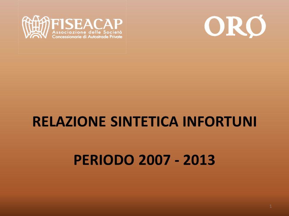 RELAZIONE SINTETICA INFORTUNI PERIODO 2007 - 2013 1