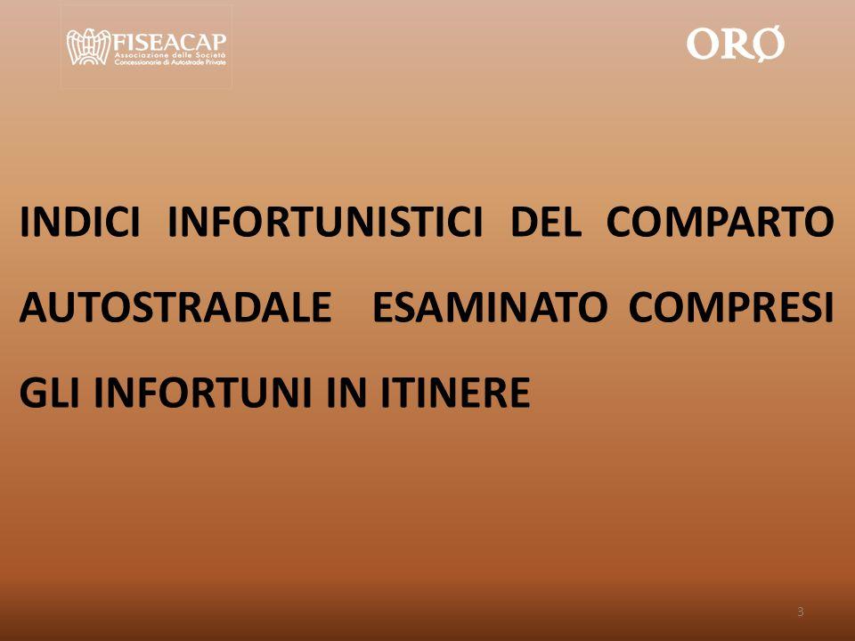 INDICI INFORTUNISTICI DEL COMPARTO AUTOSTRADALE ESAMINATO COMPRESI GLI INFORTUNI IN ITINERE 3