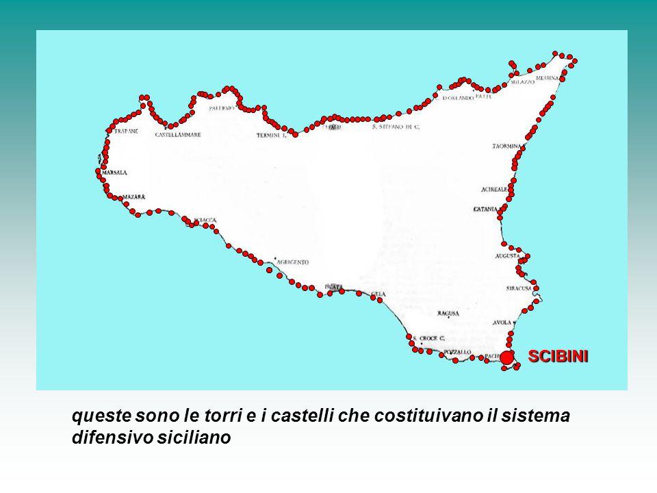 queste sono le torri e i castelli che costituivano il sistema difensivo siciliano SCIBINI