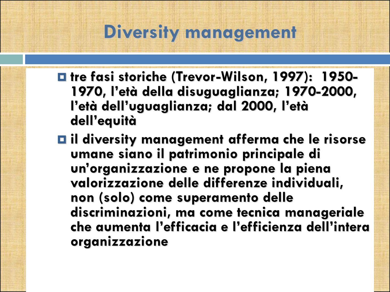 Diversity management  tre fasi storiche (Trevor-Wilson, 1997): 1950- 1970, l'età della disuguaglianza; 1970-2000, l'età dell'uguaglianza; dal 2000, l'età dell'equità  il diversity management afferma che le risorse umane siano il patrimonio principale di un'organizzazione e ne propone la piena valorizzazione delle differenze individuali, non (solo) come superamento delle discriminazioni, ma come tecnica manageriale che aumenta l'efficacia e l'efficienza dell'intera organizzazione