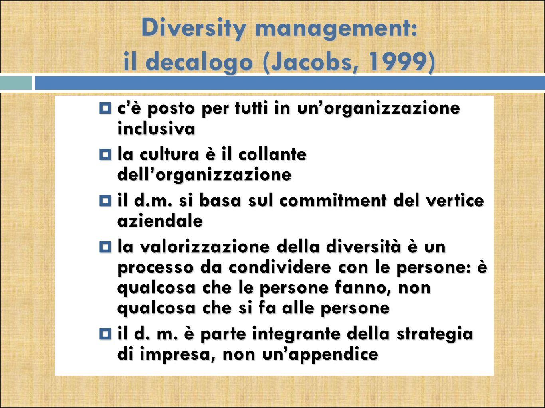 Diversity management: il decalogo (Jacobs, 1999)  c'è posto per tutti in un'organizzazione inclusiva  la cultura è il collante dell'organizzazione  il d.m.