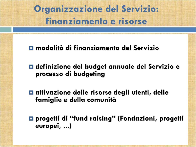 Organizzazione del Servizio: finanziamento e risorse  modalità di finanziamento del Servizio  definizione del budget annuale del Servizio e processo di budgeting  attivazione delle risorse degli utenti, delle famiglie e della comunità  progetti di fund raising (Fondazioni, progetti europei,...)