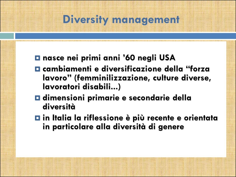Diversity management  nasce nei primi anni '60 negli USA  cambiamenti e diversificazione della forza lavoro (femminilizzazione, culture diverse, lavoratori disabili...)  dimensioni primarie e secondarie della diversità  in Italia la riflessione è più recente e orientata in particolare alla diversità di genere