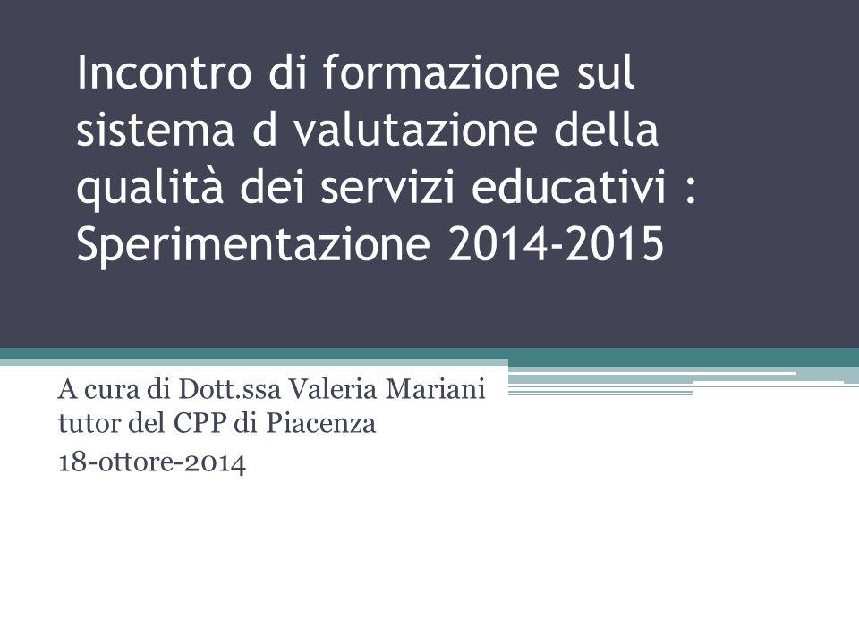 Incontro di formazione sul sistema d valutazione della qualità dei servizi educativi : Sperimentazione 2014-2015 A cura di Dott.ssa Valeria Mariani tu